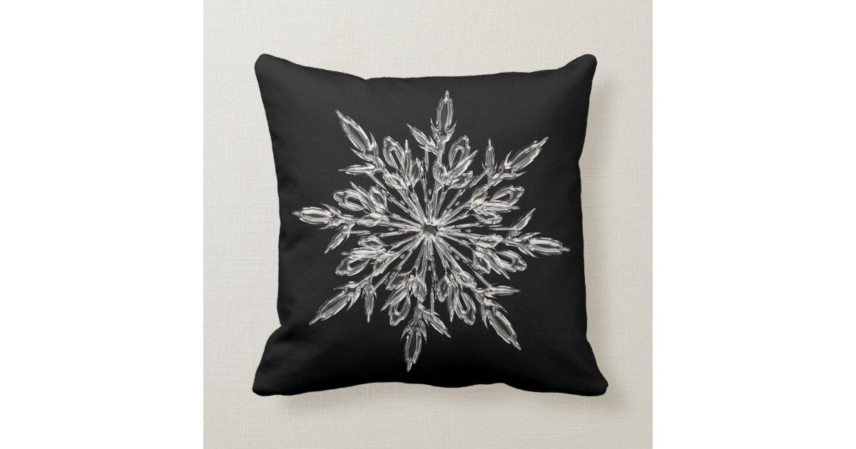 Black Silver Throw Pillow : Black Silver Ice Snowflake Throw Pillow Zazzle