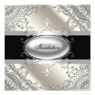 Black Silver Ivory Black White Party Card