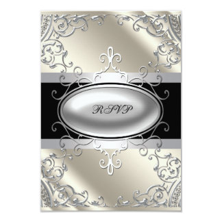 Black Silver Ivory Black White RSVP Card