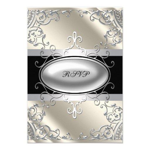 Black Silver Ivory Black White RSVP Custom Invites