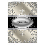 Black Silver Ivory Greeting Card