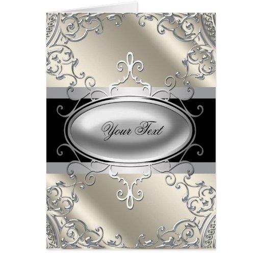 Black Silver Ivory Greeting Card