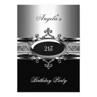 Black Silver Jewel 21st Elegant Birthday Party 5x7 Paper Invitation Card