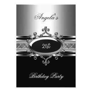 Black Silver Jewel 21st Elegant Birthday Party Invitation