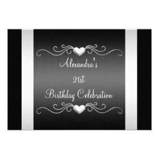Black Silver Love Hearts 21st Birthday Event 2 Personalized Invitations