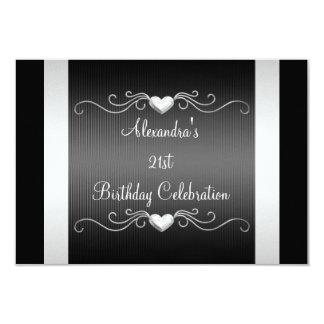 "Black Silver Love Hearts 21st Birthday Event 2 3.5"" X 5"" Invitation Card"