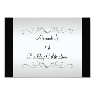 Black Silver Love Hearts 21st Birthday Event Personalized Announcement