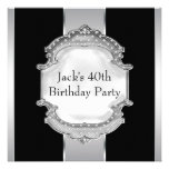 Black Silver Mans 40th Birthday Party Personalized Announcement