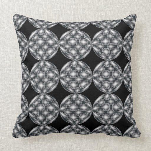 Black & Silver Metal Orbs Pattern Throw Pillow Zazzle