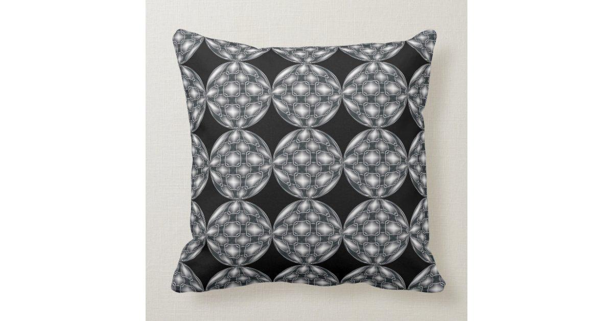 Black Silver Throw Pillow : Black & Silver Metal Orbs Pattern Throw Pillow Zazzle