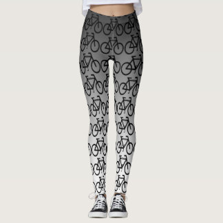 Black Silver Metallic Bicycle Abstract Leggings