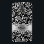 "Black &amp; Silver Metallic Floral Damasks-Customized Case For Galaxy S5<br><div class=""desc"">Elegant black and silver tones shiny metallic look with floral damasks pattern. Custom and optional monogram.</div>"