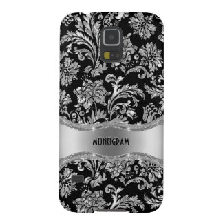 Black & Silver Metallic Floral Damasks-Customized Case For Galaxy S5