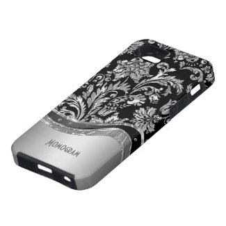 Black & Silver Metallic Look With Damasks iPhone 5 Case