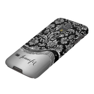 Black & Silver Metallic Look With Damasks Case For Galaxy S5
