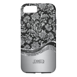 Black & Silver Metallic Look With Damasks iPhone 7 Case
