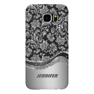 Black & Silver Metallic Look With Damasks Samsung Galaxy S6 Cases
