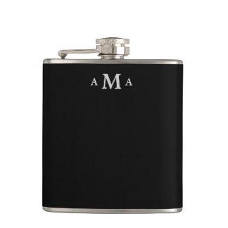 Black Silver Monogram Flasks