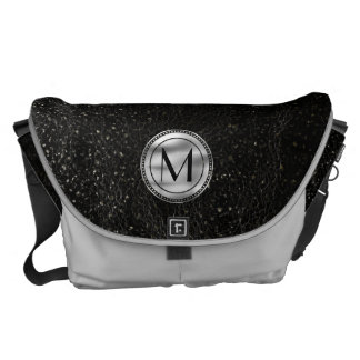 Black Silver Monogram Outer Space Messenger Bag