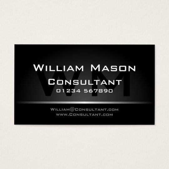 Black Silver Monogram Professional - Business Card