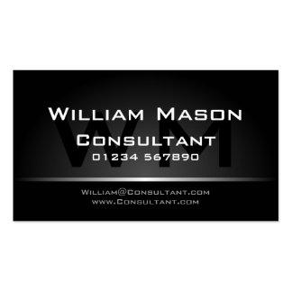 Black Silver Monogram Professional - Business Card