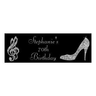 Black/Silver Music Note & Stiletto 70th Birthday Poster