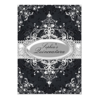 Black & Silver Pearl Vintage Glamour Quinceanera Card