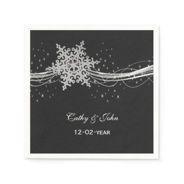black Silver  personalized wedding napkin
