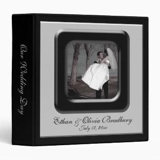 Black & Silver Photo Frame Wedding Album 3 Ring Binder