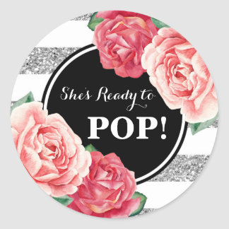 Black Silver Pink Floral Baby Shower Ready to Pop Classic Round Sticker