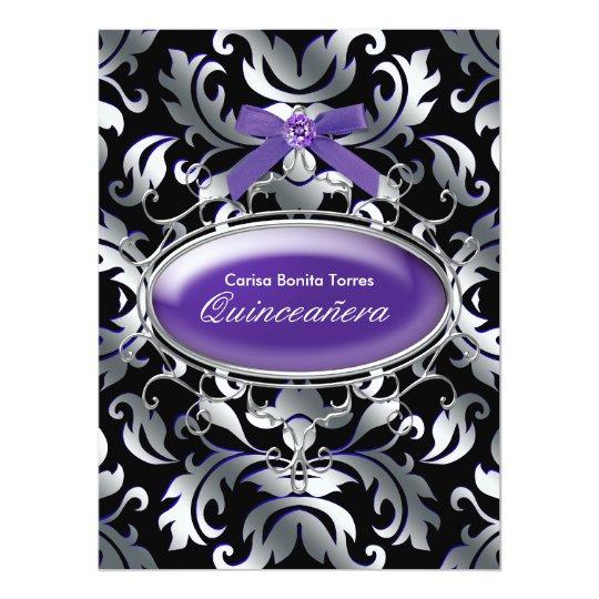 Black Silver Purple Damask Purple Quinceanera Card