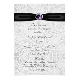 Black Silver Purple Sweet 16 Invitation