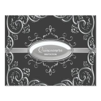 Black Silver Quinceanera 4.25x5.5 Paper Invitation Card