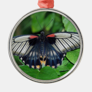 Black Silver Red Butterfly Metal Ornament