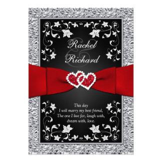 Black Silver Red Hearts Floral Wedding Invitation