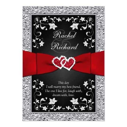 Wedding Invitations Red White And Black: Black Silver Red Hearts, Floral Wedding Invitation