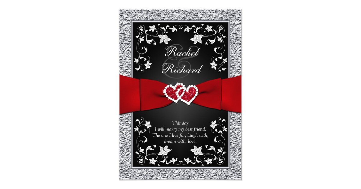 Wedding Invitations Red And Black: Black Silver Red Hearts, Floral Wedding Invitation