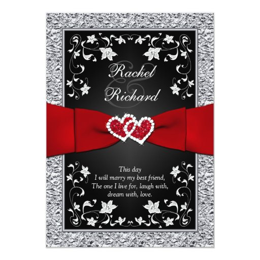 Red And Silver Wedding Invitations