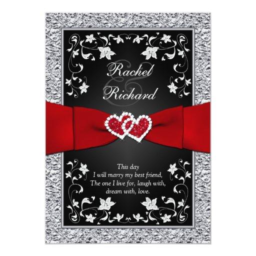 Black Silver Red Hearts Floral Wedding Invitation Zazzle