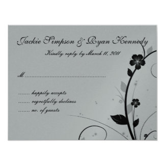 Black & Silver RSVP Card Floral Wall