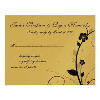 Black & Silver RSVP Card Floral Wall Gold