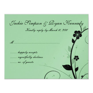 Black & Silver RSVP Card Floral Wall Green