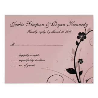 Black & Silver RSVP Card Floral Wall Pink