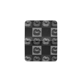 Black Silver Sassy Lips Business Card Holder