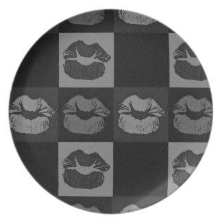 Black Silver Sassy Lips Dinner Plate