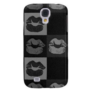 Black Silver Sassy Lips Galaxy S4 Cover