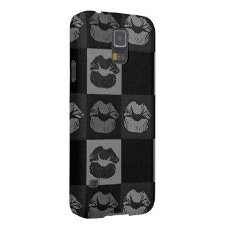 Black Silver Sassy Lips Galaxy S5 Case