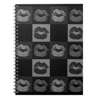 Black Silver Sassy Lips Notebook