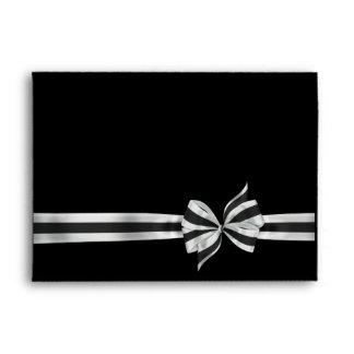 Black & Silver Satin Bow Elegant Black Envelope
