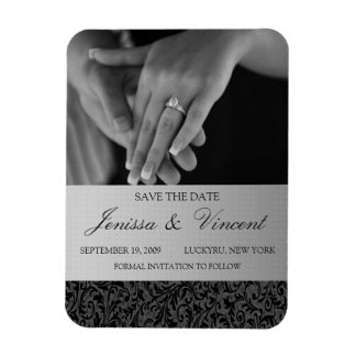 """Black & Silver Save the Date Magnet 3"""" x 4"""""""